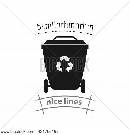 Trash Recycle Bin Container For Garbage Simple Vector Icon. Recycle Bin Isolated Icon