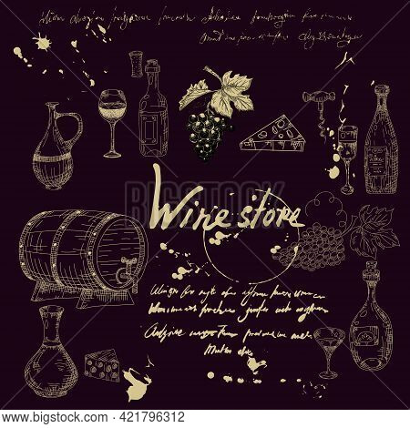 Collection Wine Products And Vineyard Hand Drawn Scetch. Grapes, Wooden Barrel, Bottles, Chees, Glas