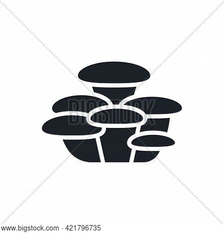 Oyster Mushroom Silhouette. Black Isolated Silhouettes. Fill Solid Icon. Modern Glyph Design. Vector