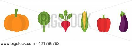 Vegetable Icon Isolated On White Background. Pumpkin, Spinach Radish Corn, Pepper Eggplant. Healthy