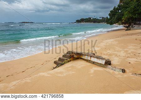 Ruins of a house on beach destroyed by tsunami, Unuwatuna, Sri Lanka
