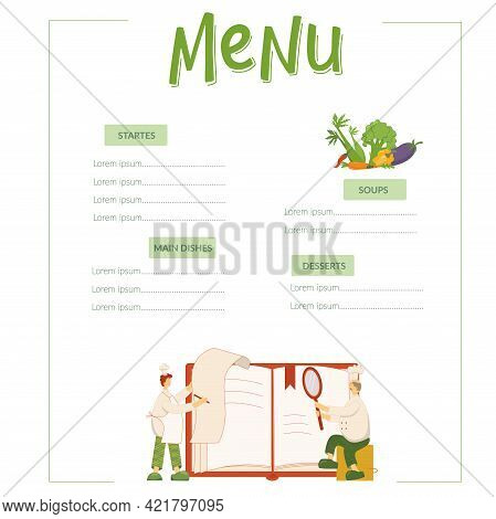 Menu, Cooks Are Looking Pecipe In Book On Kitchen In Restaurant. Funny Chef Men And Flat Vegetables.
