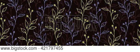 Berry Bush Branches Hand Drawn Vector Seamless Pattern. Beautiful Herbal Fabric Print. Grass Plants