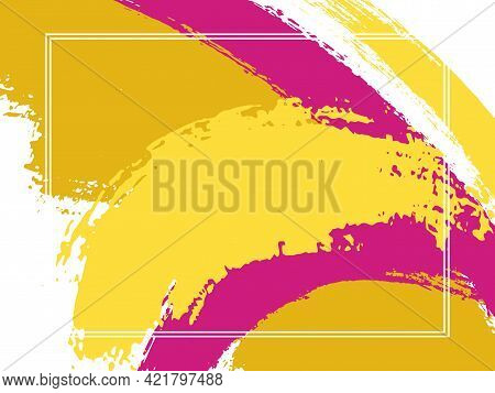 Horizontal Border With Paint Brush Strokes Background. Grunge Design Template For Card.