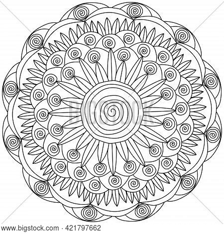 Contour Mandala Of Spiral Curls And A Large Spiral In The Center, Meditative Coloring Page With Orna