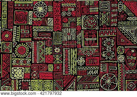 Folk African Vector Seamless Pattern. Fashion Fabric Print Design. Freehand Geometric Ethnic Tribal