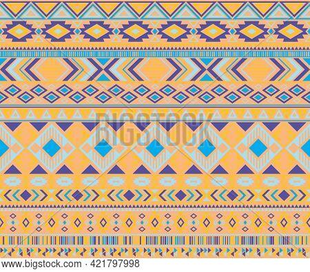 Navajo American Indian Pattern Tribal Ethnic Motifs Geometric Vector Background. Chic Native America