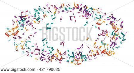 Musical Note Icons Vector Illustration. Symphony Notation Elements Burst. Nightclub Music Concept. V