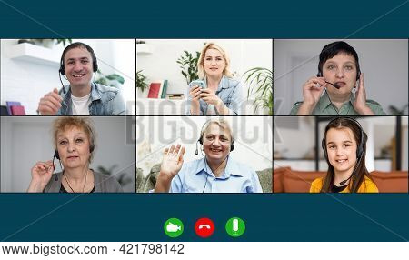 Family Chatting Distantly Using Video Conferencing Service. Online Virtual Chat, Relatives Glad To S