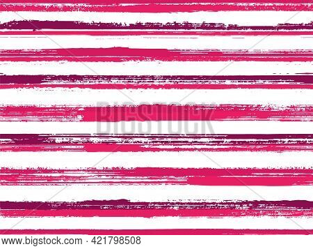 Hand Painted Stripes Clothes Seamless Vector Pattern. Trendy Colors Design. Grunge Brush Stroke Stri