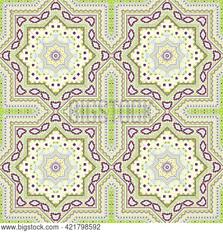 Linear Italian Maiolica Tile Seamless Rapport. Geometric Texture Vector Swatch. Velum Print Design.