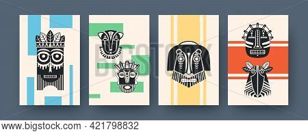 Set Of Contemporary Art Posters With African Tribal Masks. Vector Illustration. Collection Of Africa