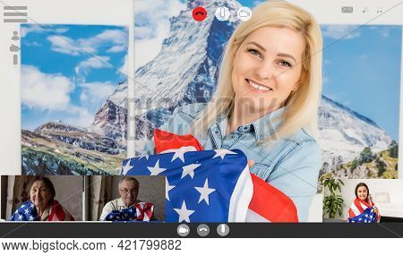 Laptop Monitor With Video Conferencing Of People With Us Flag