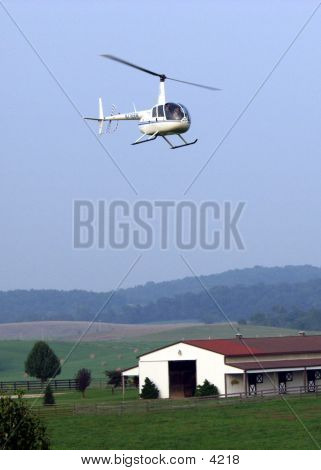 Helicopter Over Barn
