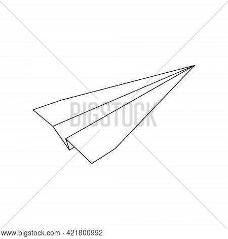 Origami Paper Plane Linear Icon Isolated On White Background. Symbol Of Success, Communication, Trav