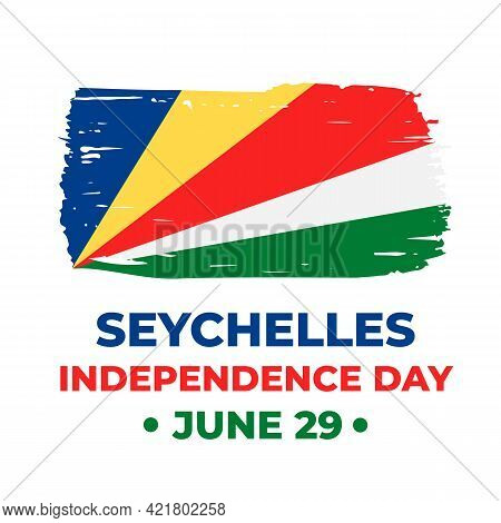 Seychelles Independence Day Lettering With Flag. National Holiday Celebrated On June 29. Vector Temp