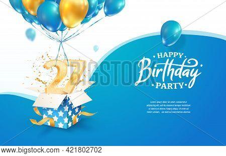 Celebrating 27th Years Birthday Vector Illustration. Twenty Seven Anniversary Celebration. Adult Bir