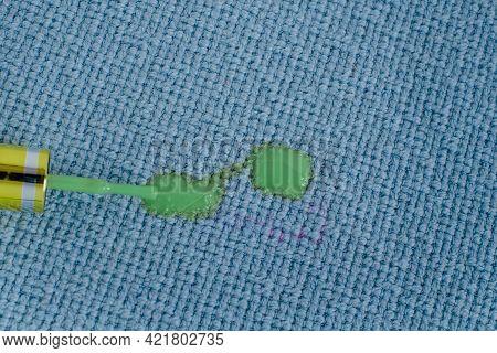 Remove Nail Polish Stains On Fabrics, Brush Spilled Green Nail Polish