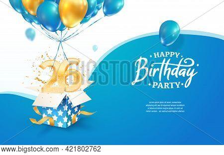 Celebrating 26th Years Birthday Vector Illustration. Twenty Six Anniversary Celebration. Adult Birth