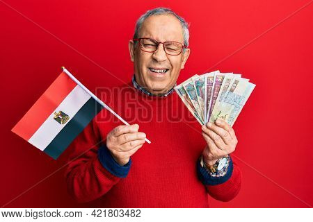 Handsome senior man with grey hair holding egypt flag and egyptian pounds banknotes winking looking at the camera with sexy expression, cheerful and happy face.
