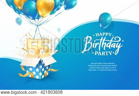 Celebrating 55th Years Birthday Vector Illustration. Fifty Five Anniversary Celebration. Adult Birth