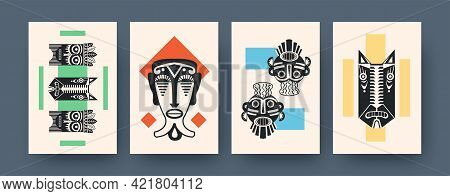 Set Of Contemporary Art Posters With Ethnic Masks. Vector Illustration. Collection Of African Tribal