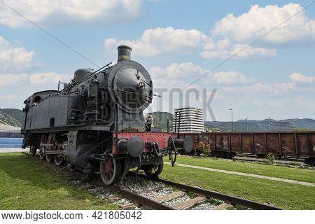 Nova Gorica, Slovenia. May 21, 2021.  An Old Steam Locomotive At The City Railway Station