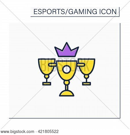 Champion Cups Color Icon.winner Golden Prizes. Fight On Tournaments. International Esports Competiti