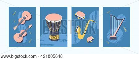 Set Of Musical Instruments Illustrations In Pastel Style. Collection Of Creative Art Posters In Retr