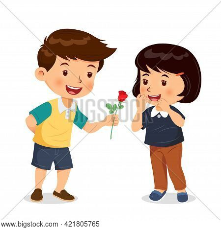 Boy Give Rose To Girl. Give Flowers On Valentines Day, Birthday. Cartoon Character Vector.