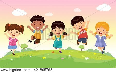 Cute Boys And Girls Jumping With Joy And Fun On The Meadow. Cartoon Character Vector.