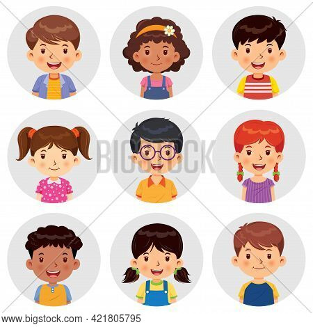 Set Of Different Avatars Of Boys And Girls Are Smiling On The Gray Circle Flats. Set Avatars Portrai