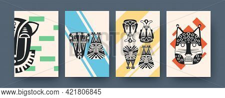 Set Of Contemporary Art Posters With African Facial Masks. Vector Illustration. .collection Of Afric