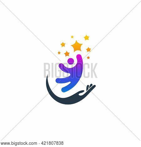 Kids Care Logo Designs Vector, People Care Logo Template
