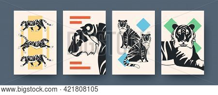 Set Of Contemporary Art Posters With Elegant Tiger. Vector Illustration. .collection Of Feline Preda