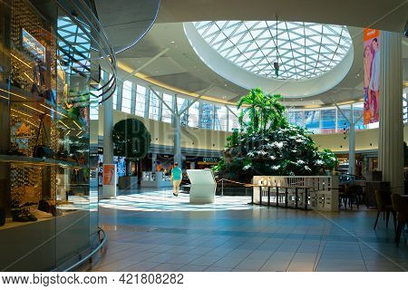 Katowice. Poland 11 May 2021. Mall People Background In Silesia City Center Katowice. Interior Of Re