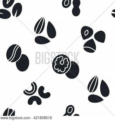 Vector Seamless Pattern With Black Silhouettes Of Nuts. Endless Texture. Print Background Wallpaper.