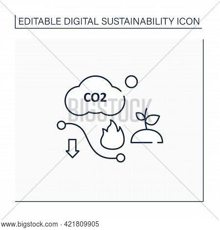 Carbon Efficient Line Icon.minimum Feasible Carbon Emissions.low Air Emissions.climate Change.negati