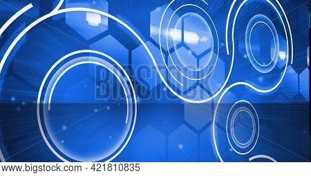 Composition of scopes scanning over blue hexagons in background. global networking, business and technology concept digitally generated image