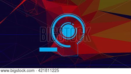 Composition of blue scope scanning over network of connections. global data processing, networking, business and technology concept digitally generated image
