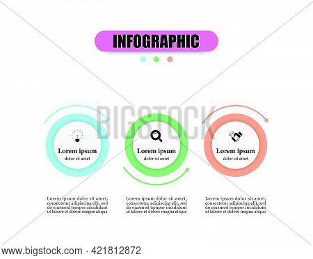 Design Planning Timeline Infographics Template With Three Circle Elements. Business Infographics Tem