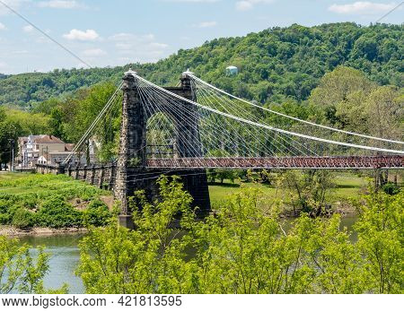 Stone Structure Of The Old Suspension Bridge Carrying The National Road Across The Ohio River In Whe