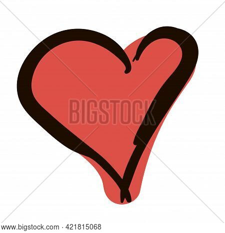 Hand-drawn Red Heart. Doodle Vector Illustration Isolated On White Background