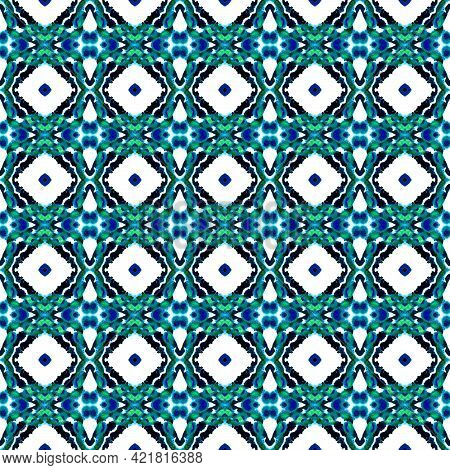 Tribal Art Medallion. Blue, Cyan, Indigo Fabric. Mediterranean, Arab Motif. Arabesque Seamless Patte