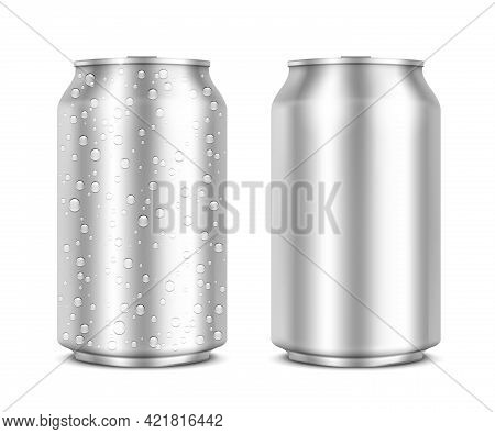 Aluminum Cans Isolated On White Clean And With Drops. Vector Illustration. Eps10 Opacity