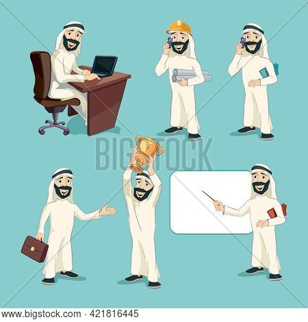 Arab Businessman In Different Actions. Vector Cartoon Characters Set. Worker Person, Professional Ma