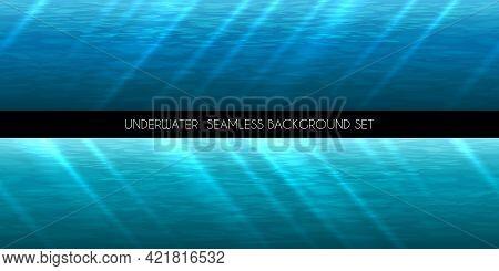 Underwater Seamless Background. Water Marine Blue, Deep Aquatic, Vector Illustration
