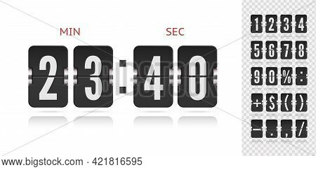Vector Illustration Template. Vector Coming Soon Web Page Design With Floating Flip Time Counter. Sc
