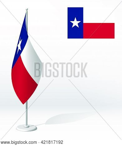 Flag Of American State Of Texas On Flagpole For Registration Of Solemn Event, Meeting Foreign Guests