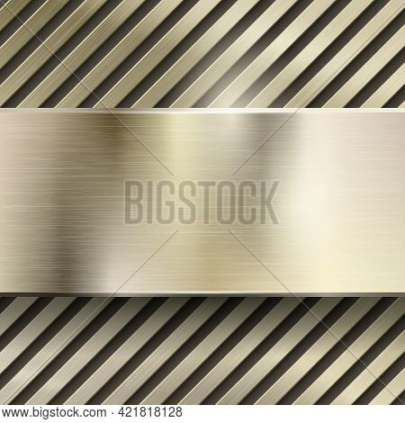 Abstract Metal Vector Background. Metallic Steel Or Iron Pattern Glossy, Polished Panel, Grid Or Str